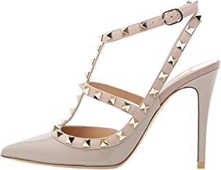 Womens Heels Strappy Sandals Rivets Studs Middle Thin Heels Sexy Sandals