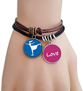 Skiing Winter Sport Blue Silhouette Love Bracelet Leather Rope Wristband Couple Set
