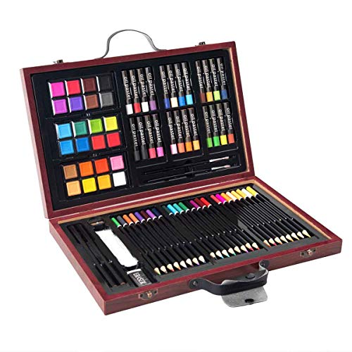 Goplus 80-Piece Art Set, Deluxe Art Supplies for Drawing, Painting and More, Art Creativity Kits in Portable Wooden Case, Great...