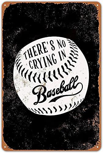 Cartel de chapa Estilo Vintage Sin llanto en béisbol (fondo negro) Placas de metal Póster Decoración de pared 8 x 12 pulgadas