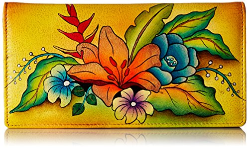 Anna by Anuschka Damen Clutch, Portemonnaie | echtes Leder, Tropischer Blumenstrauß gelb, Einheitsgröße