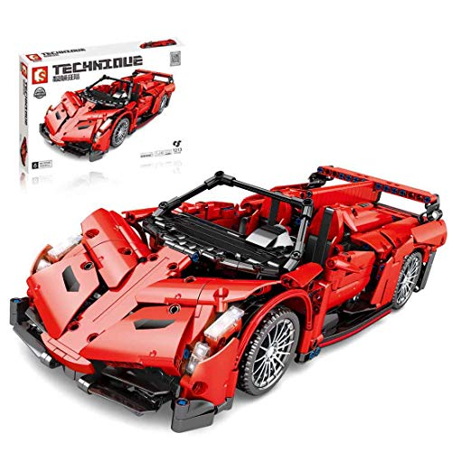 PEXL Technik Auto Bausteine Bausatz für Lamborghini Supercar, Technic Sportwagen Modell Bauset, 1200 Klemmbausteine Kompatibel mit Lego Technic