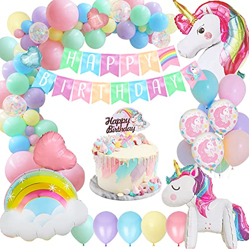 Sumtoco Globos de Cumpleaños Unicornio Niña, Guirnalda Globos Pancarta de Feliz Cumpleaños y Arcoíris de Aluminio para Niños Fiesta de Cumpleaños Baby Shower Decoración.