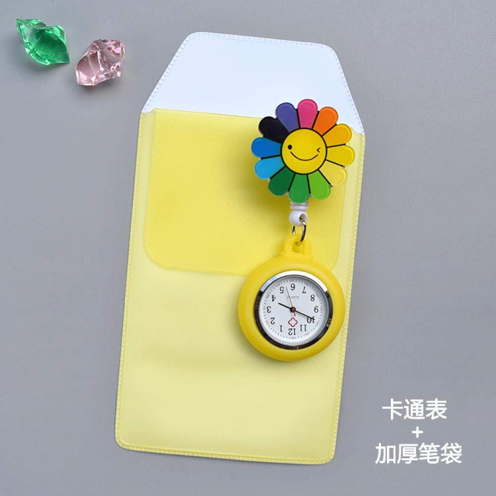 Cxypeng Reloj de Enfermera,Mesa de Enfermera retráctil de Dibujos Animados, Reloj Colgante, Reloj de Bolsillo médico, Estuche Acolchado, Naranja,Reloj de Bolsillo Medico de Enfermera: Amazon.es: Hogar