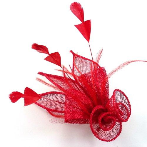 rougecaramel - Accessoires cheveux - Broche fleur ou pince fleur en sisal pour mariage cérémonies - rouge