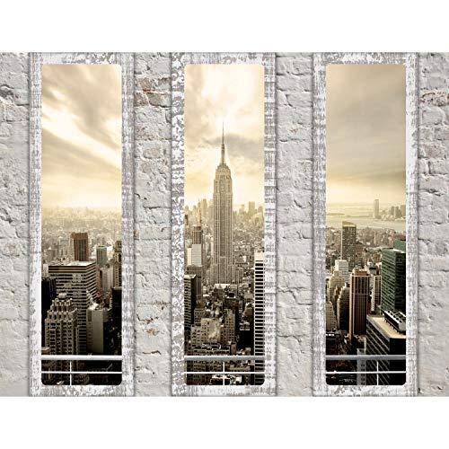 Fototapeten 396 x 280 cm Fensterblick New York   Vlies Wanddekoration Wohnzimmer Schlafzimmer   Deutsche Manufaktur   Beige 9152012a