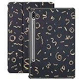 Galaxy Tablet S7 Plus Custodia da 12,4 pollici 2020 con supporto per penna S, stelle filanti coriandoli dorati su sfondo nero Custodia protettiva Folio sottile per Samsung