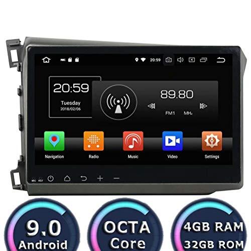 ROADYAKO Head Unite pour Honad Civic 2012 2013 2014 Anroid 8.0 Autoradio Stéréo avec Navigation GPS 3G WiFi Lien Miroir RDS FM AM Bluetooth AUX