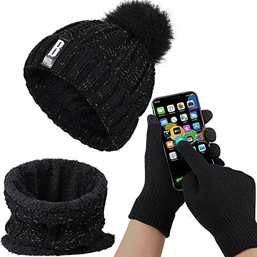 SATINIOR Damen Pom Strick Mütze Hut Schal Touchscreen Handschuhe Set mit Vlies Futter