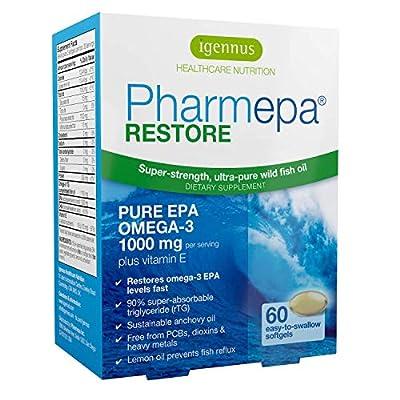 Pharmepa Restore Pure EPA Fish Oil, 1000mg EPA Only Triple Strength Omega-3 rTG per Serving, 1-Month Supply, 60 softgels