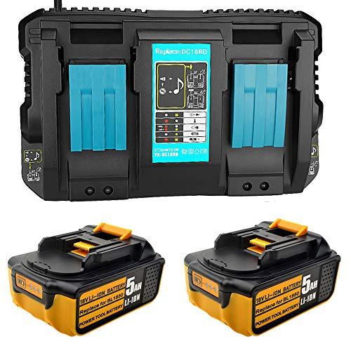 2 baterías de repuesto de 18 V 5.0 Ah para Makita BL1850 BL1840 BL1830 batería para herramientas con cargador doble 4A DC18RD