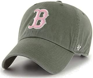 '47 Brand Boston Red Sox Womens Clean Up Adjustable Hat - Moss Green/Pink, Adult - MLB Baseball Cap