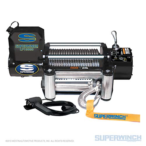 Superwinch 1510200 LP10000 Winch, 10,000lbs/4536kg Single line Pull with Roller Fairlead, and 12' Handheld Remote