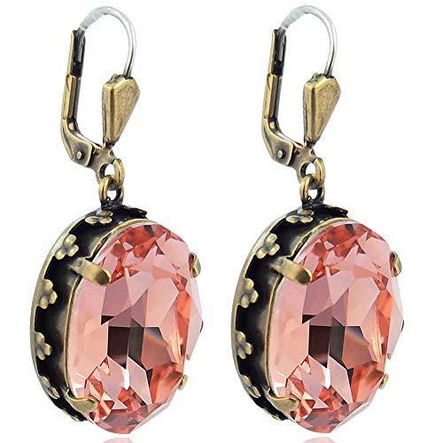 Jugendstil Ohrringe Kristalle von Swarovski® Gold Rose NOBEL SCHMUCK