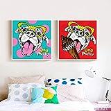 KWzEQ Dibujos Animados Lindo Perro Impresiones en Lienzo Pintura al óleo Lienzo hogar Arte de la Pared decoración40X40cmx2Pintura sin Marco
