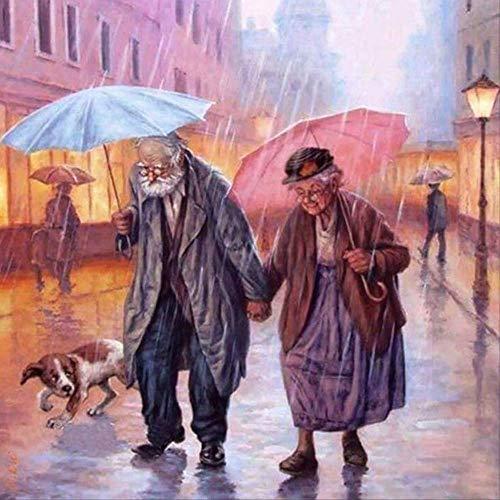 Diamant Schilderij 5D City Street View Twee Oudere Paraplu Winkelen Ronde Boor 50 x 50cm