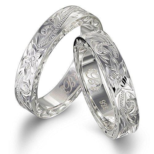 ハワイアンジュエリー ペアリング 刻印無料 誕生石入れ可 シルバー925 指輪 2個セット 【1個目:20号】【2個目:15号】 SR301P