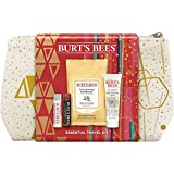 Burt's Bees Essentials Travel Kit Holiday Gift Set, 4 Skin Care Products Cleansing Towelettes, Deep Cleansing Cream, Ultra Conditioning Lip Balm And Tinted Lip Balm