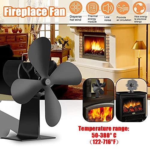 Funien Ventilador de Estufa, Ventilador de Chimenea de 4 aspas para el hogar Ventiladores eficientes de distribución de Calor