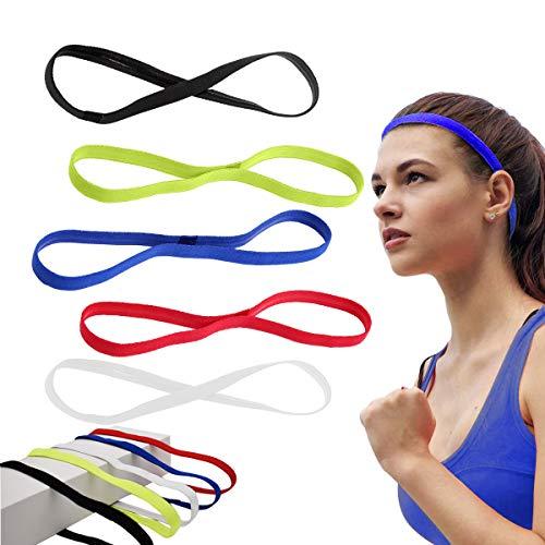 Xiuyer 10 Stück Elastische Sport Haarbands Sport Stirnbänder Antirutsch Silikon Griff Schweißbänder Für Damen Und Herren Fußball Yoga Laufen Jogging Workout(5 Farben)