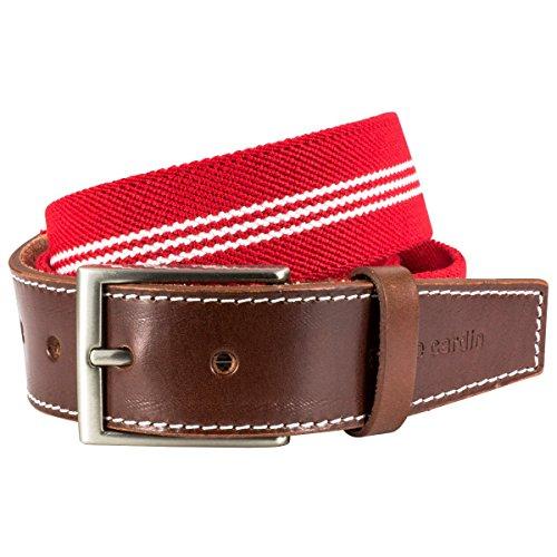 Pierre Cardin - Tela tela de estiramiento de la cinturón con extremo de cuero la cinturón / cinturón para hombre pierre cardin, 70143 rojo blanco, tamaño / size: 95; color / color: rojo