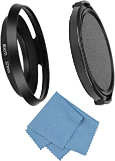 SIOTI Gran Angular ventilado Parasol de Metal + paño de Limpieza + Tapa del Objetivo para Nikon Canon Sony Fuji Pentax Sumsung Leica Lente de Rosca estándar