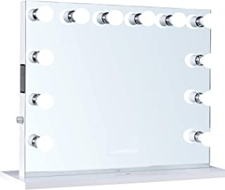ReignCharm Hollywood Vanity Mirror Music Box, Bluetooth Speaker, 12 LED Lights, Dual Outlets & USB, 32-inches x 27-inches