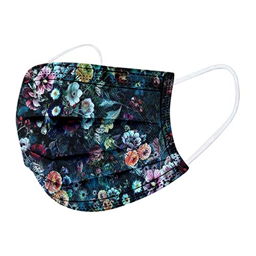 Looekveoyi Cubierta facial desechable para adultos, cubiertas faciales transpirables, estampado floral para motocicleta, familia anti-neblina, 10 piezas de pasamontañas