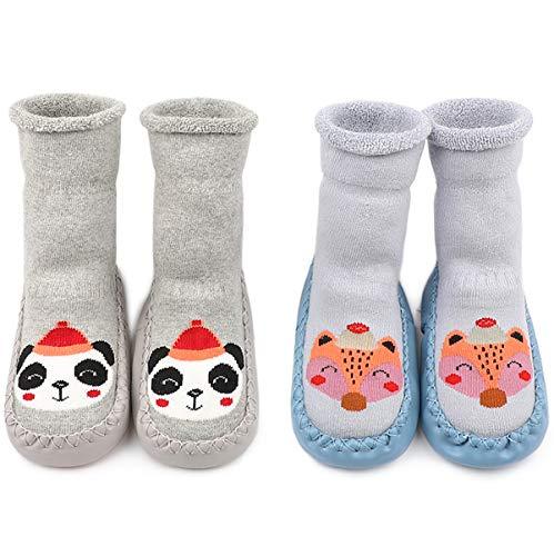 Adorel Calcetines Zapatos Antideslizantes Forros Bebé 2 Pare Azul Zorro & Gris Panda 19-20 (Tamaño del Fabricante 13)