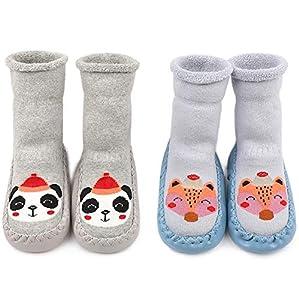 Adorel Calcetines Zapatos Antideslizantes Forros Bebé 2 Pare Azul Zorro & Gris Panda 21-22 (Tamaño del Fabricante 14)