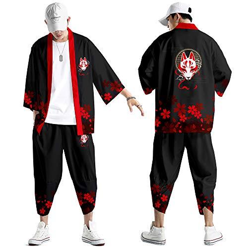 Conjunto Chaqueta Kimono para Hombre,Pantalones Harem de Moda,Capa con Estampado de Zorro...