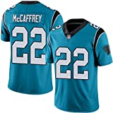 Maillot de Rugby McCaffrey 22 Panthers Femme, adapté aux Hommes, Femmes, Adolescents et Enfants Broderie Maillot de Football américain Maillot de Sport Manches Courtes T-Shirt-Blue-Children-L