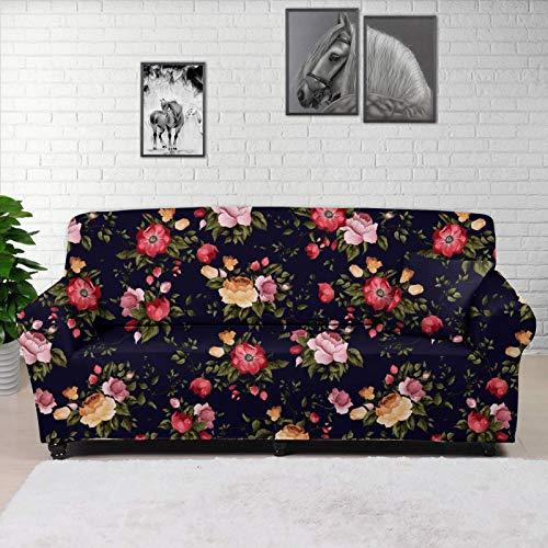 HUGS IDEA Funda elástica para sofá clásica camelia, diseño retro de flores de elastano, tela jacquard, lavable, reversible, gran protector de sofá para niños, mascotas, sofá de 2 plazas