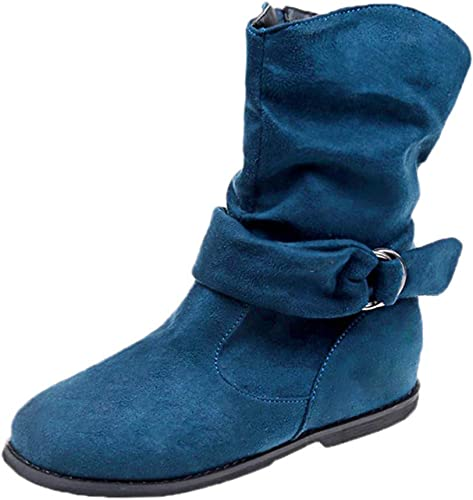ZHRUI Style Vintage Femmes Grandes Chaussures Plates de Grande Grande Taille Chaussures Souples Ensemble de Pieds Bottines Bottes Moyennes (Couleuré   Bleu, Taille   6.5 UK)  mode