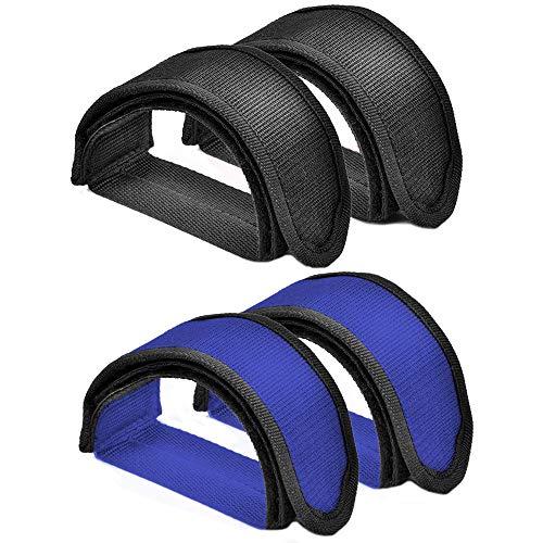 ALUYF 4 Stück Pedal Straps Pedalriemen Fahrrad Fußpedal Straps Toe Clips Straps-Klebeband für Fahrrad Fußpedalriemen Zehenclips Riemen Band Schwarz Blau