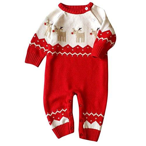 Culater 2017 Natale Vestiti della neonata, Morbido Pile per Bambini One Pieces Tute Pigiama 0-22 Mesi Neonato Ragazza dei Ragazzi Vestiti del Bambino Costumi (Rosso, 8-14 Mesi)