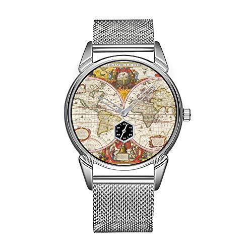 Mode herenhorloge zilver roestvrij staal waterdicht horloge mannen top merk herenhorloge antieke wereldkaart klok