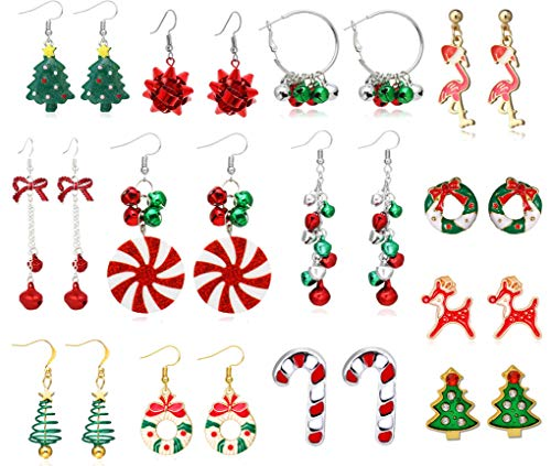 13 Pairs Christmas Earrings for Women Cute Party Festive Earring Garland Bell Earrings Jewelry Set for kids, Christmas Gifts for Teen Girls (13 dangle Pairs)