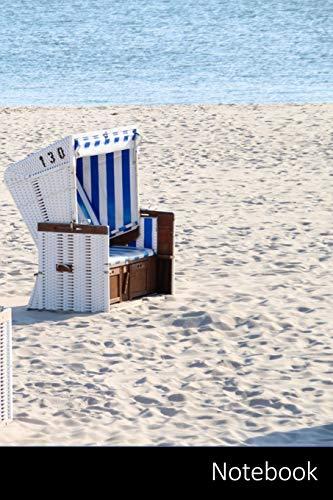 Notebook: Strandkorb, Sylt, Nordsee, Meer Notizbuch / persönliches Tagebuch / Schreibheft / Logbuch / Planer / Vokabelheft / Notizen - 6 x 9 Zoll ... Seiten mit Datumslinie, glänzendes Cover.