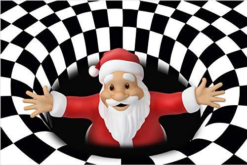 Weihnachten 3D Wirbel-Illusionsbereich Teppichbodenmatte, ultra-haltbarer Teppich-Teppich, rutschfeste Fußbodenmatte für den Eintrittsschlafzimmer Wohnzimmer Weihnachtsdekoration-D 31x79inch (80x200cm