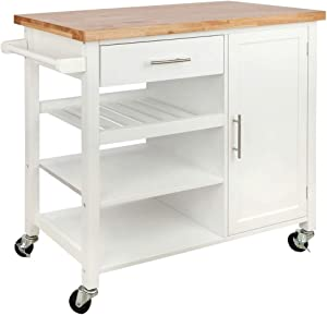 Homegear Utility V3 Kitchen Cart with Storage Cabinet Island on Wheels White