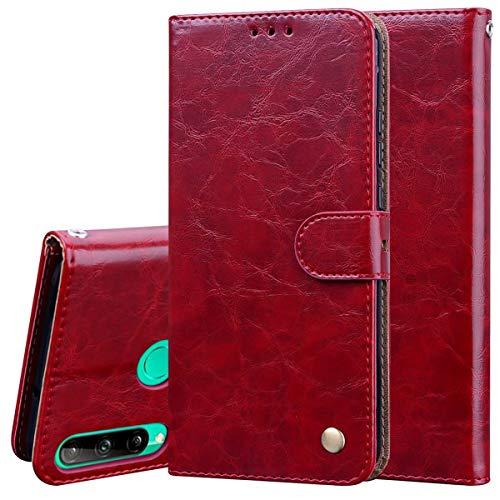Nadoli Leder Hülle für Huawei Y6P,Retro Ölwachs Premium Pu Leder Magnetverschluß Ständer Klapptasche Kartenfäche Flip Schutzhülle Tasche Brieftasche