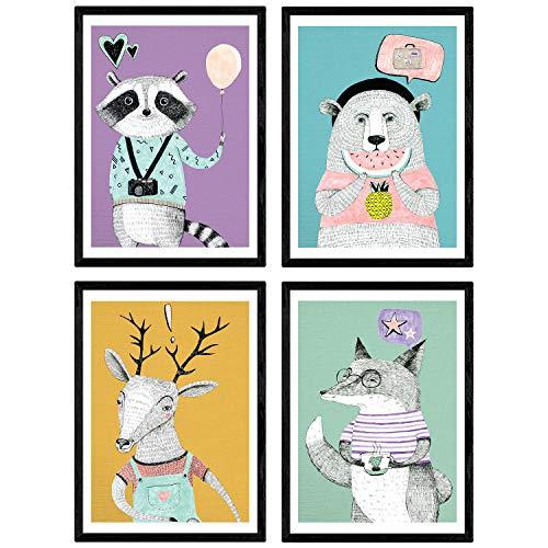 Nacnic Poster de Animales Modernos Color. Lámina de Animales con diseño nordico. Tamaño A4