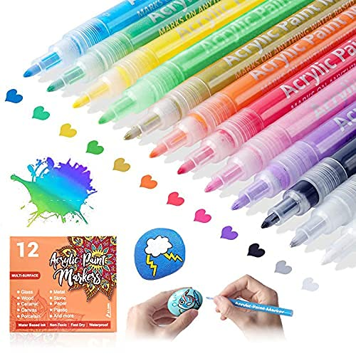 Etiondrm Acrylic Paint Pens, for Rocks Painting, DIY Crafts Making, Ceramic, Glass, Wood, Fabric, Canvas, Mugs, Card Making, Eggs Ornaments, Bright Color, Non Toxic, Quick Drying, Paint Markers Pens Set of 12 Colors