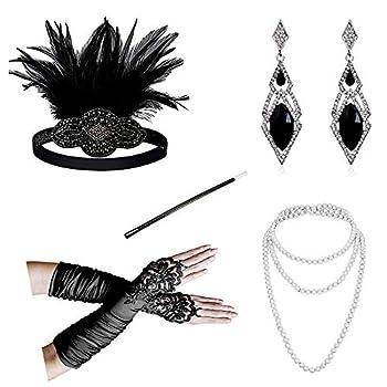 1920s Accessories Headband Necklace Gloves Cigarette Holder Flapper Costume Accessories Set for Women 1111da