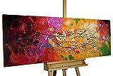 Kunstloft® Cuadro acrílico 'Lucid Dream' 150x50cm | Original Pintura XXL Pintado a Mano en Lienzo | Abstracto de Colores Rojo Amarillo  | Mural acrílico de Arte Moderno en una Pieza con Marco