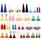 Sntieecr 20 Pairs Colorful Tassel Earrings Long Layered Thread Ball Dangle Earrings Hoop Fringe Bohemian Tiered Tassel Drop Earrings Fashion Gift Set for Women Christmas Party