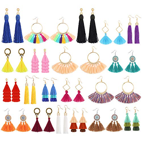 Sntieecr 20 Pairs Colorful Tassel Earrings Long Layered Thread Ball Dangle...