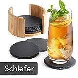 Sidorenko Schiefer Untersetzer rund für Gläser - 6er Set Ink. Box - Design Glasuntersetzer in...