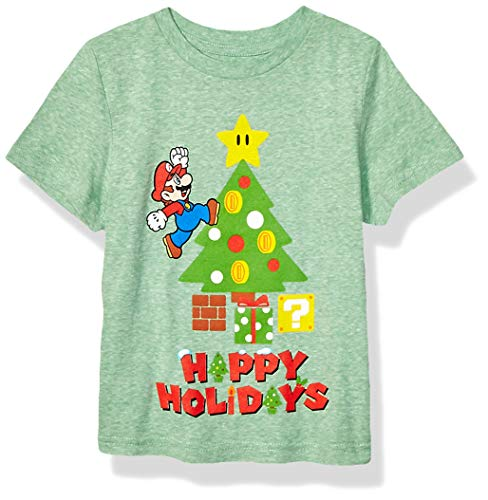 Nintendo Boys' Little Mario Christmas Tree T, kelly heather, 5